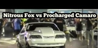 Nitrous Fox vs Procharged Camaro in a drag race in Memphis No Prep Kings 2