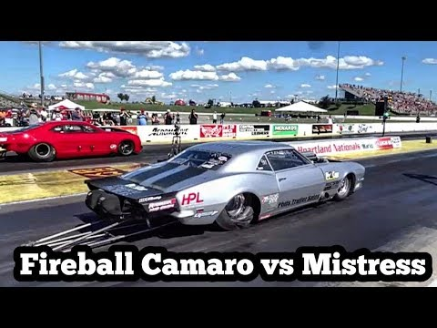 Fireball Camaro vs The Mistress Twin Turbo Camaro at No Prep Kings 2 Topeka Kansas