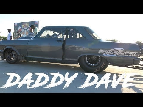 DADDY DAVE COMSTOCK PROCHARGED CHEVY NOVA VS BLOWN PROMOD NO PREP KINGS DRAG RACING