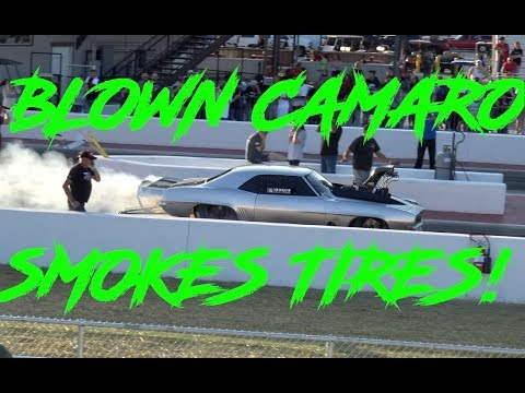 CHEVY CAMARO BLOWER CAR SMOKES TIRES!!!  CODY BAKER NO PREP KINGS