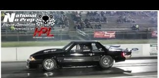 Hired Help Vortech powered Mustang vs Turbo Cobra at No Prep Kings 2