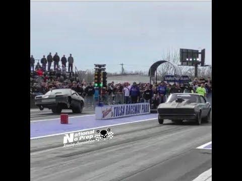 Reaper SS old Camaro vs Nitrous Huffing Camaro Iroc at Tulsa No Prep Kings Filming