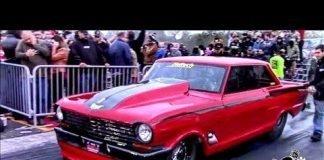 Boddie's twin turbo Nova vs The Unicorn nitrous Chevy at the Edinburg Street Outlaws No Prep