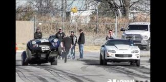 Shelby Cobra wheel stang vs nitrous Camaro at Tricky D Garcias thanksgiving shakedown