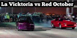 La Vicktoria twin turbo s10 vs Red October Nitrous Iroc at No mans land no prep