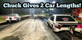 Chuck Death Trap Gives Canadian Cobra 2 Car Lengths!!