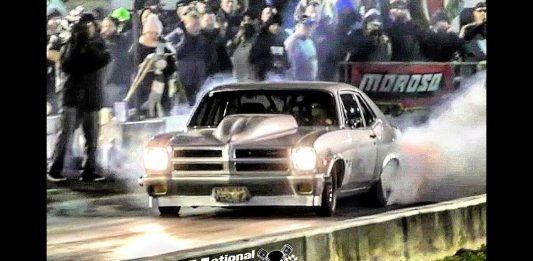 Pontiac Ventura taps the wall at the Kentucky Street Outlaws live no prep