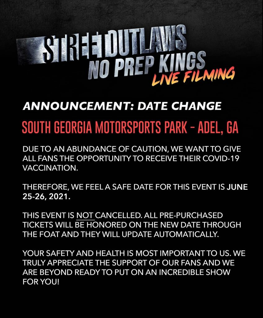 Street Outlaws No Prep Kings 2021 Schedule